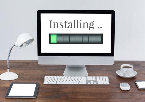 Installing progress status power bar and computer