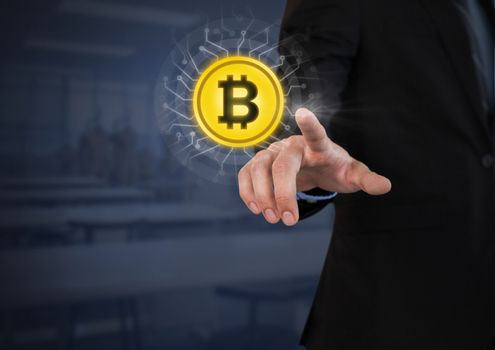 Businessperson touching bitcoin graphic icon