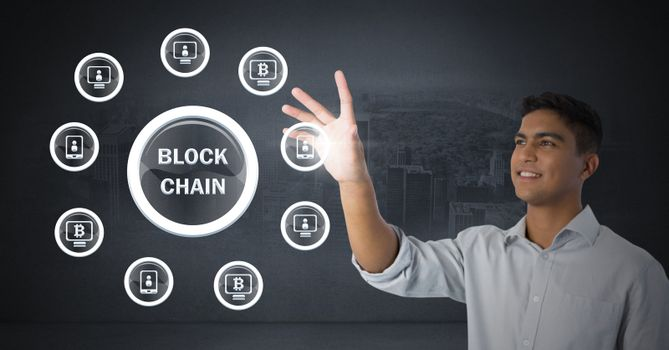Businessman touching blockchain graphics