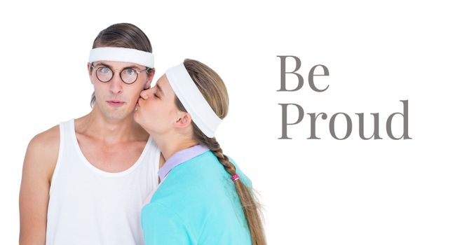 Be proud text and fitness couple
