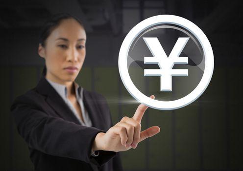 Businesswoman touching Yen graphic icon