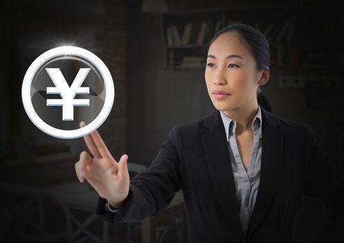Businesswoman touching yen icon graphic