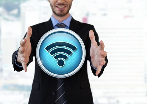 Wi-Fi icon and Businessman with hands palm open in city