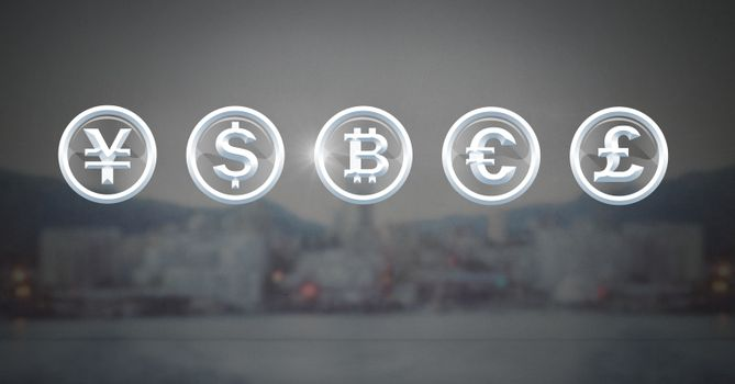 International currency icons over city