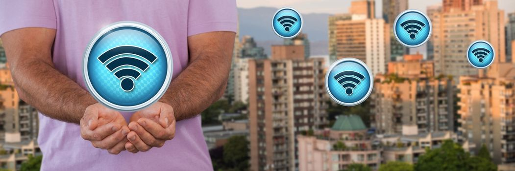 Wi-Fi icons and man with hands palm open in city