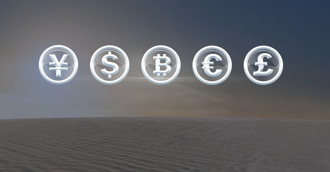 International Currency icons in desert