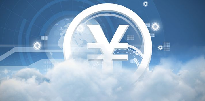 Composite image of vector sign of yen