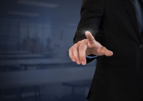 Businessperson touching air glow