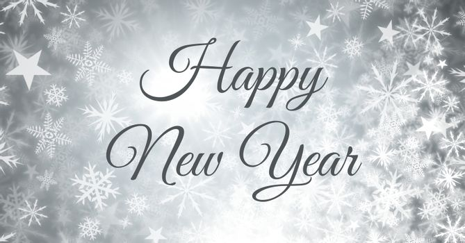Digital composite of Happy New Year text and Snowflake Christmas pattern