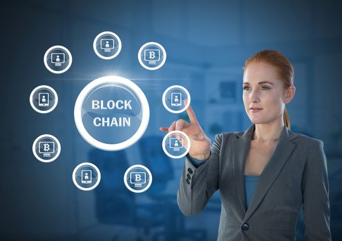 Businesswoman touching blockchain graphics