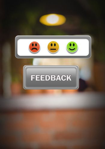 feedback button with smiley face satisfaction icons