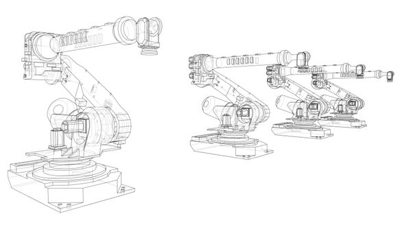 A industral robots manipulators. Blueprint style. Vector rendering from 3D model