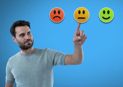 Man touching feedback smiley satisfaction icons