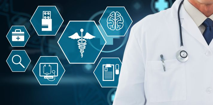 Composite image of doctor wearing lab coat