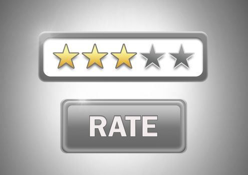 Rating stars and rate button on grey background