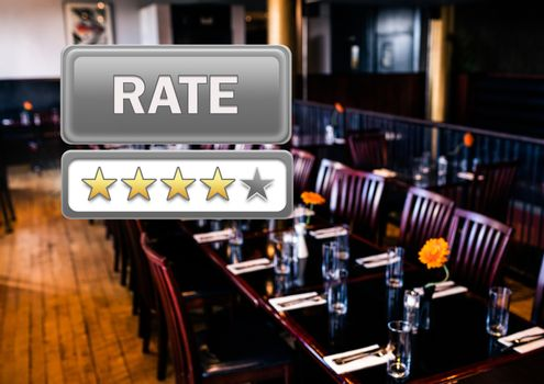 Rate button and star reviews in restaurant
