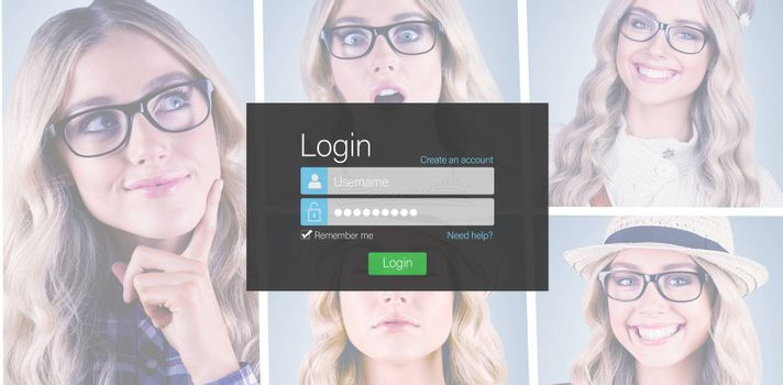 Close-up of login page against people collage portrait single 5