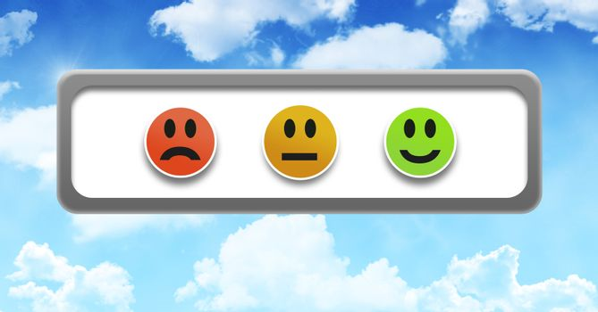 smiley faces feedback satisfaction buttons in sky