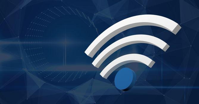 3D wi-fi icon with blue background