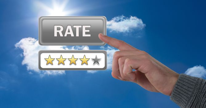 Hand touching rate button and review stars