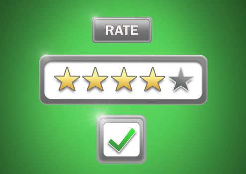 Rate button and star ratings with tick