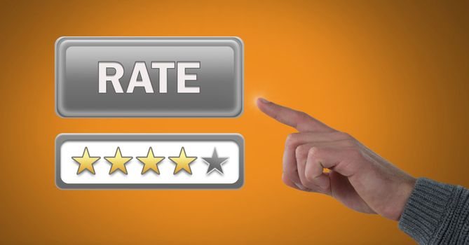 Hand pointing at rate button and review stars