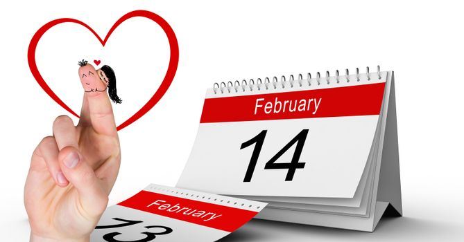 Valentine's fingers love couple and 14 February calendar