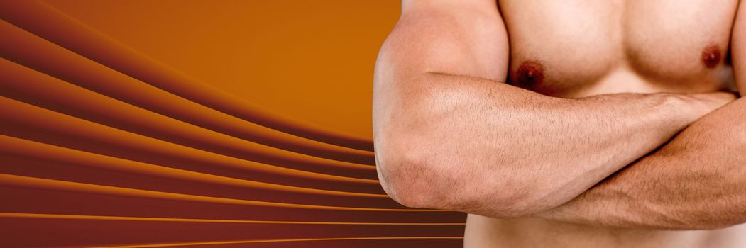 Athletic fit muscle man with amber curved background