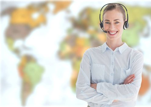 Digital composite of Travel agent woman wearing headset in front of world map