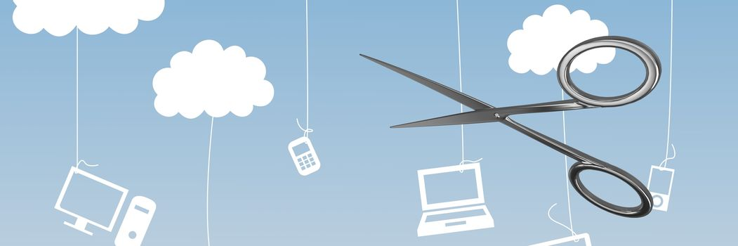 Scissors with hanging computer devices on strings