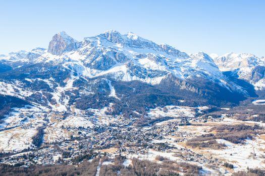 Cortina d'Ampezzo winter city view from Faloria ski area, ski resort in Italy. Cortina , Regina delle Dolomiti, Queen of the Dolomites , Dolomites mountains