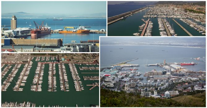 harbor and ships collage