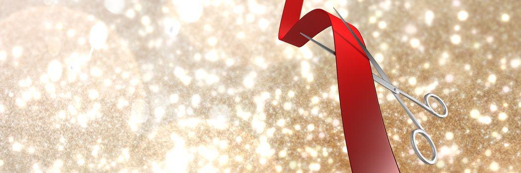 Scissors cutting ribbon with golden stars