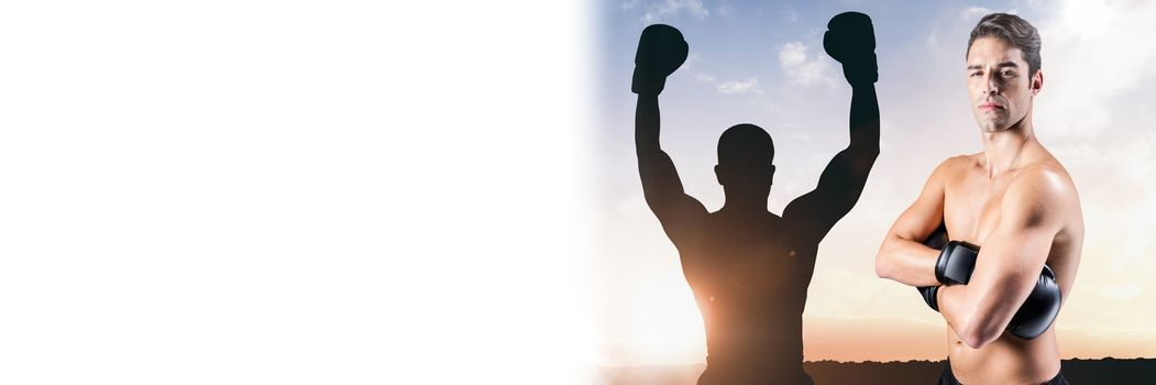 Boxer man with champion silhouette