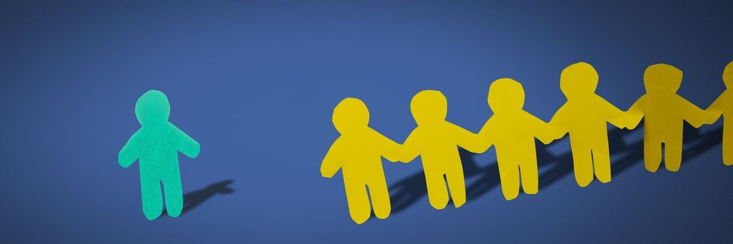 Individual alone and group together people paper cut outs