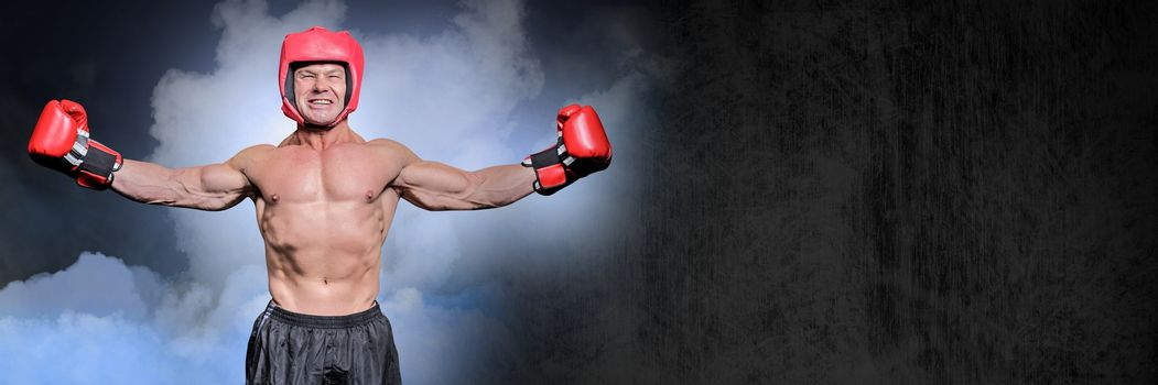 Boxer man with fog celebrating win like a champion