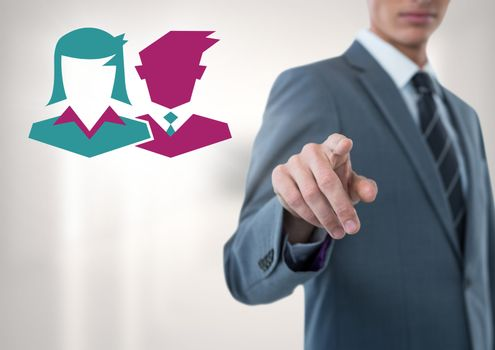 Digital composite of Businessman pointing with people icons
