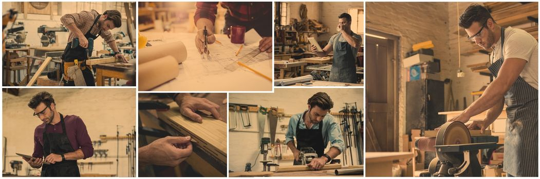 professional woodwork collage