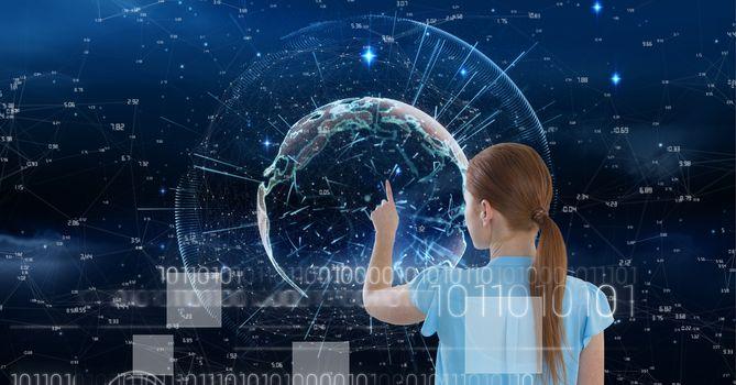 Woman clicking on digital globe