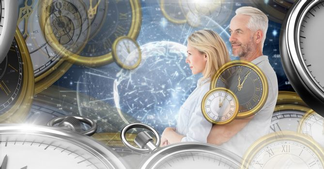 Aging couple in surreal time montage of clocks