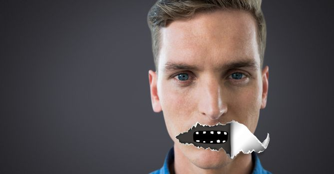 Man with torn paper on mouth and mouth drawing