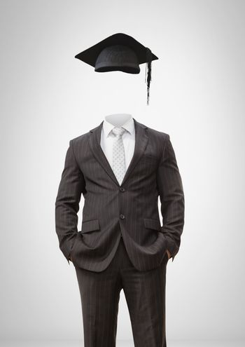 Headless man with surreal floating hat