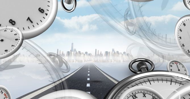 Road with surreal time clocks perspective