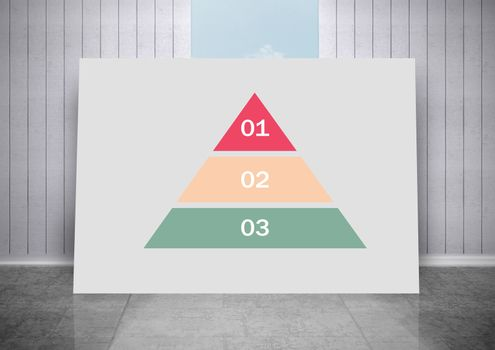 white board with colorful triangular chart statistics