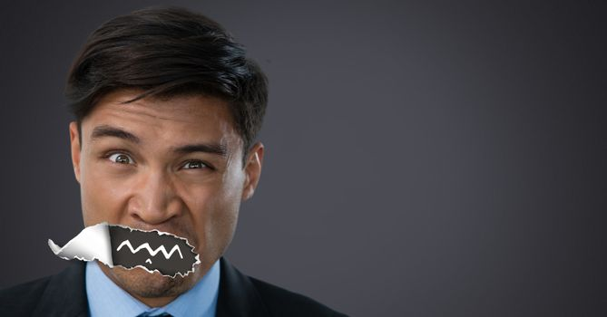 Man with torn paper on mouth and drawn mouth