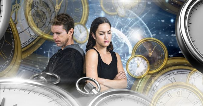Couple in surreal time and space with clocks