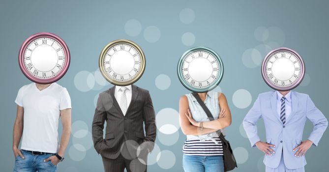 People with surreal clock time heads