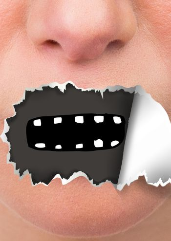 Face with torn paper on mouth and cartoon mouth