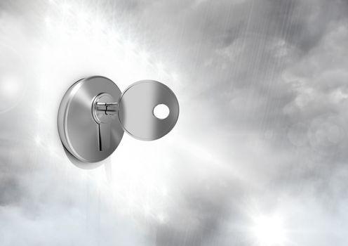 Key unlocking the surreal cloudy sky