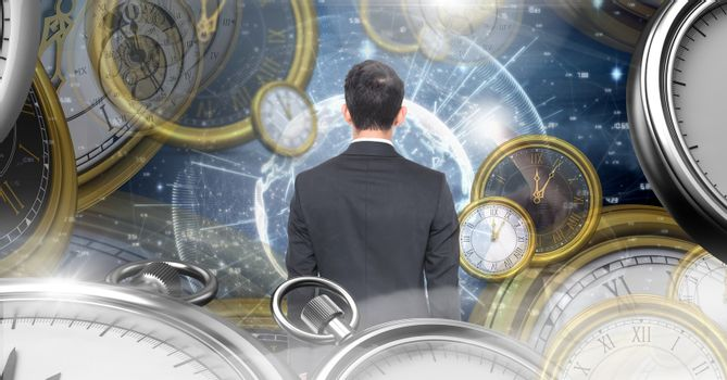 Man in surreal time and space with clocks